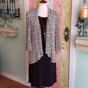 Nina Leonard 2 piece dress size 6 yellow/ black